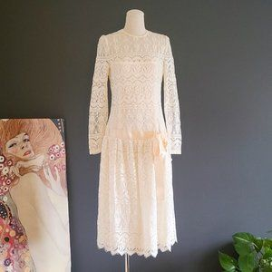 Vintage 80's Ivory Lace Party Dress